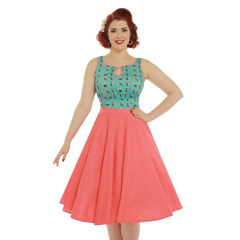 Lindy Bop Peggy Sue Circle Skirt Coral 50s style swing skirt