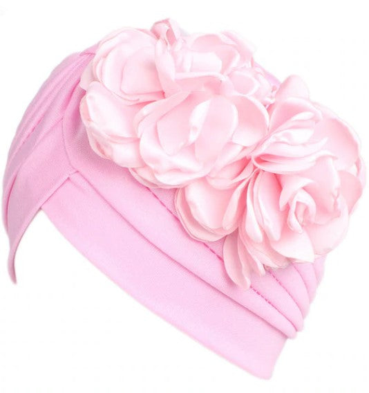 Floral Adorned Turban Pink