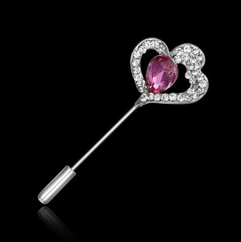 Pink crystal lapel pin
