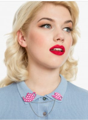 Pink polka dot teapot and teacup collar pins by Lindy Bop