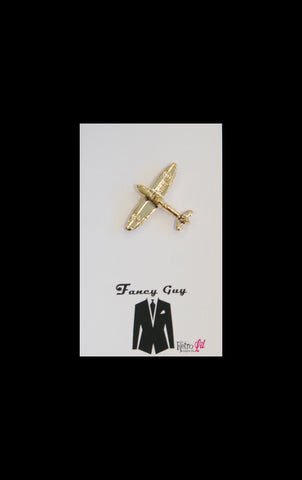 Gold plane lapel pin - Fancy Guy by Retro Lil