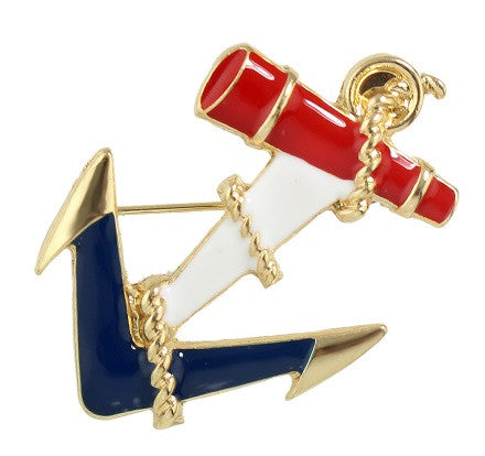 Red/White/Blue Anchor Brooch