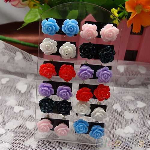 Rose Stud Earrings - Various Colours