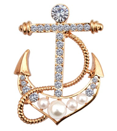 Vintage style anchor brooch in rose gold with crystals