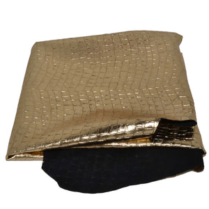 Leather Hides & Fur Pelts - wholesale-leather   Unbranded - osm-leather-usa Embossed Crocodile in Gold - genuine-leather