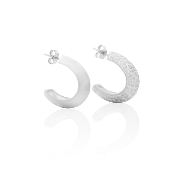 Crushed Half Hoops SILVER
