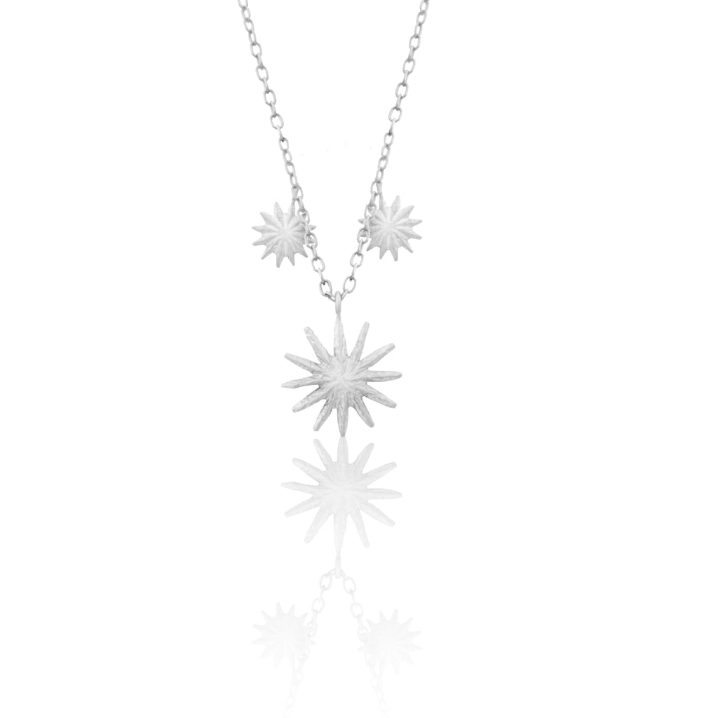 Triple Flower Necklace SILVER
