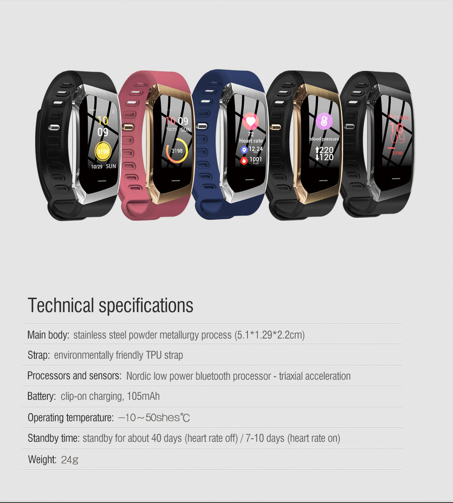 E18 Color Screen Blood pressure smart bracelet