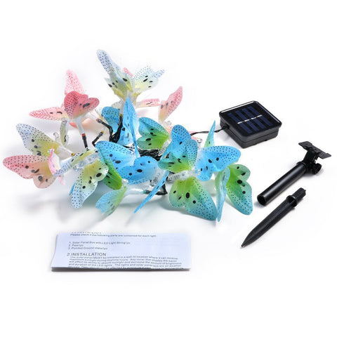 12 or 24 LED Solar Powered Butterfly String Lights