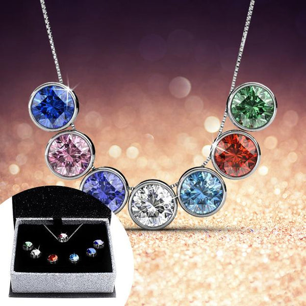 7-Day Pendant Necklace Set with Genuine Swarovski Crystals
