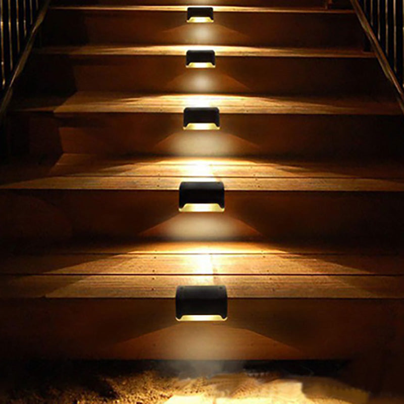 Step railing solar lighting