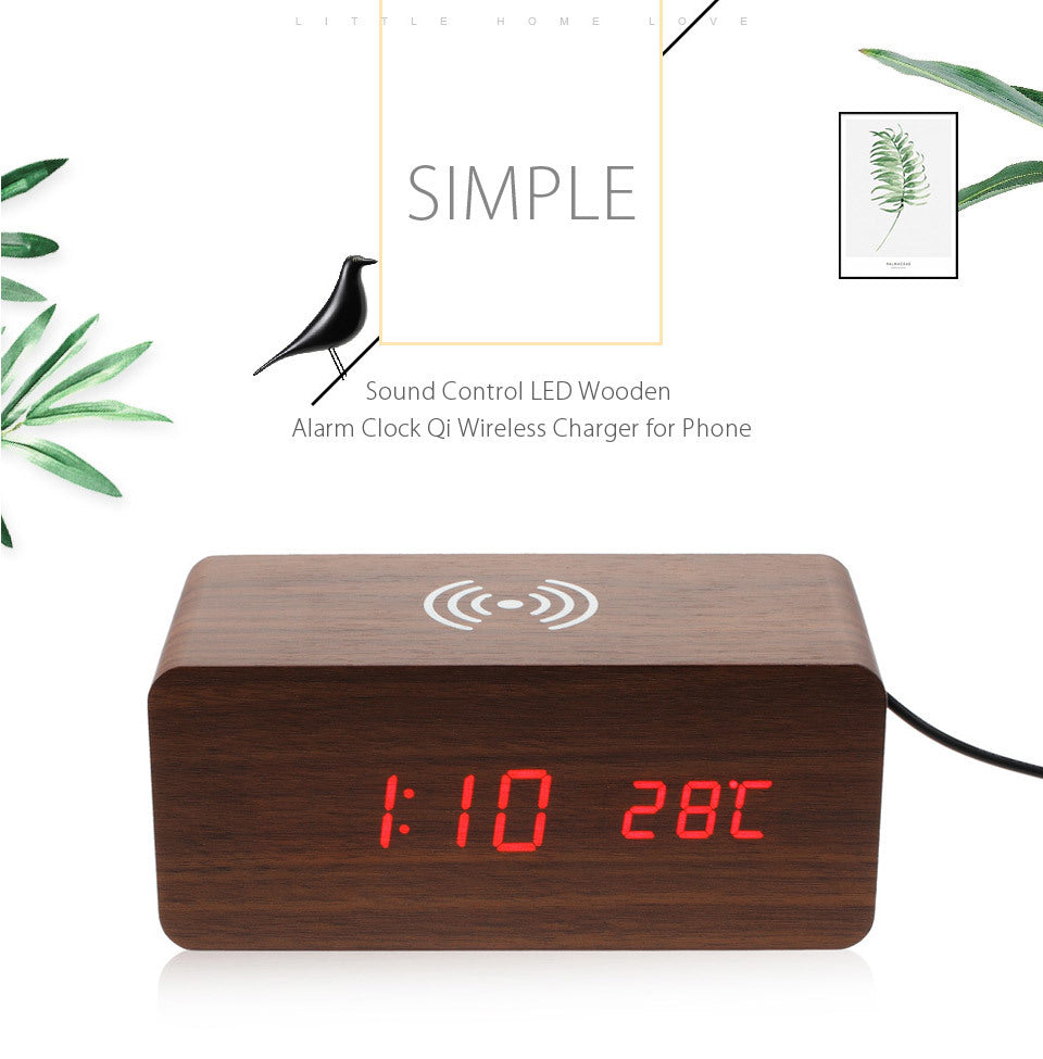 Wooden LED Alarm Clock Sound Control Qi Wireless Charger for Smart Phone