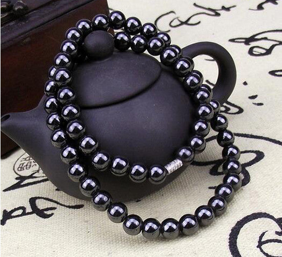Black 8mm Magnetic Beads Rosary Necklace