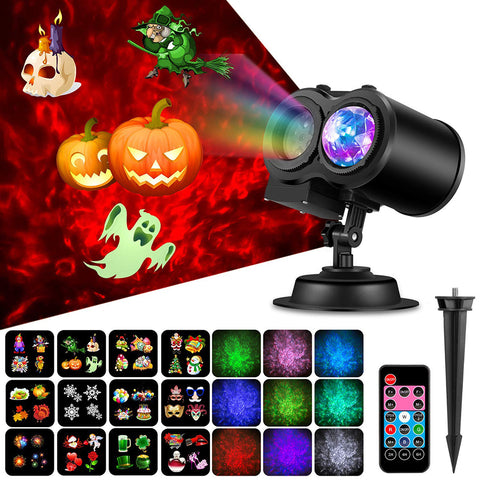 2 in 1 Holiday Projector Lights with Ocean Wave Outdoor Holiday Decorations,Halloween Projector Lights W/ Remote Controller