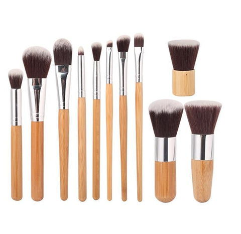 11pc Bamboo Makeup Brush Set