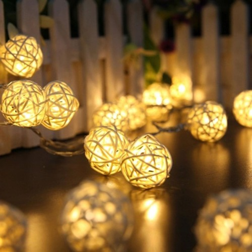 20 LED Rattan Ball String Fairy Lights