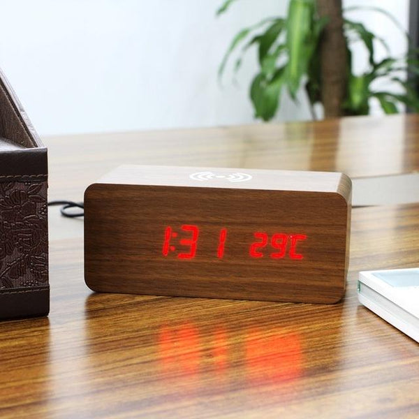Wooden LED Alarm Clock Qi Wireless Charger
