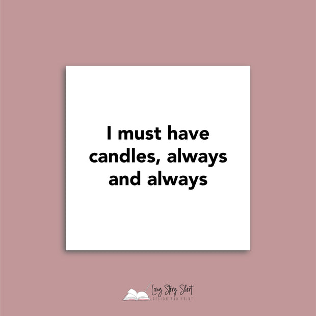 Candle Quotes WHITE (Pack 1) Vinyl Label Pack