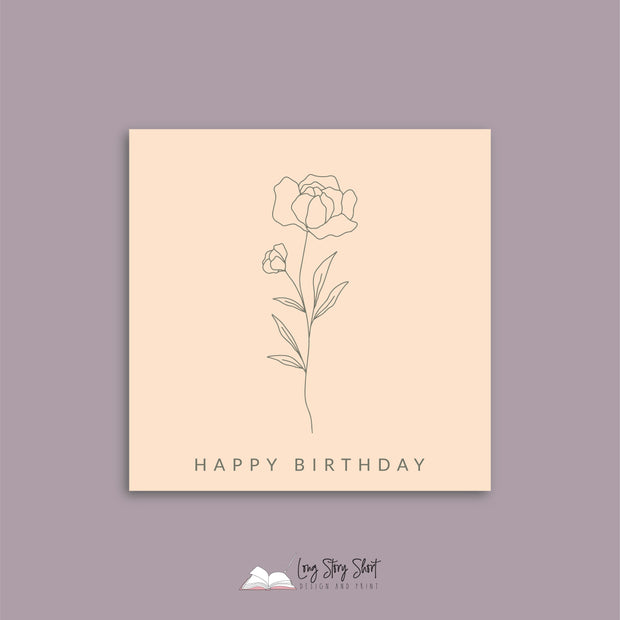 Cream Botanical Happy Birthday Vinyl Label Pack