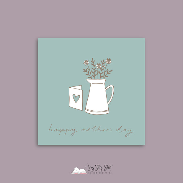 Dusty Teal Vase Mothers Day Vinyl Label Pack