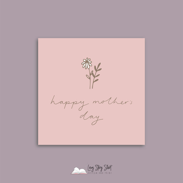 Dusty Pink Stem Mothers Day Vinyl Label Pack