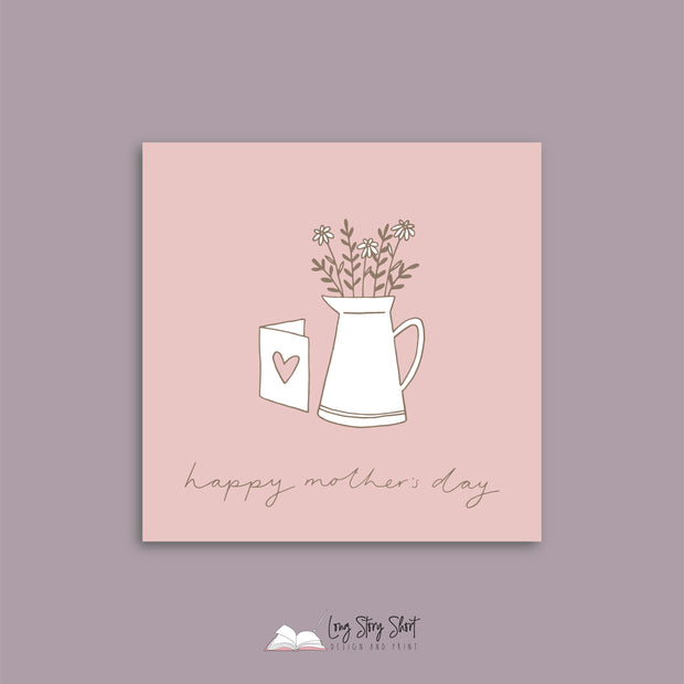 Dusty Pink Vase Mothers Day Vinyl Label Pack
