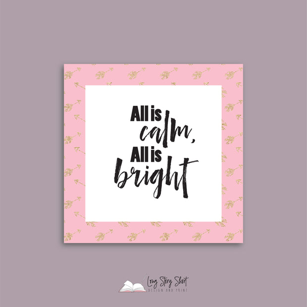 WHITE & PINK Square Christmas Labels