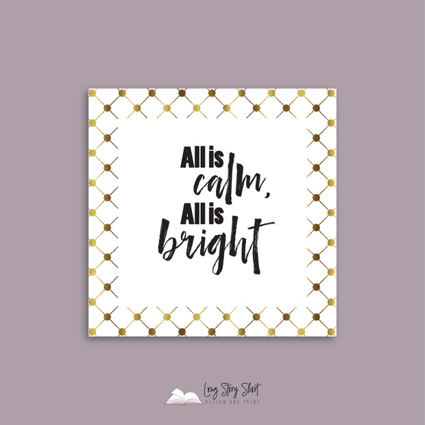 WHITE & GOLD Square Christmas Labels