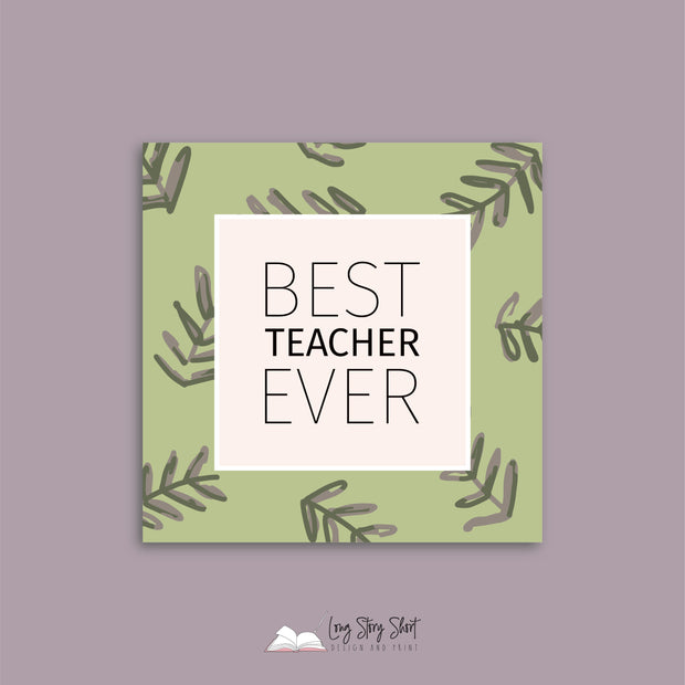 Best Teacher Ever Square Vinyl Label Pack