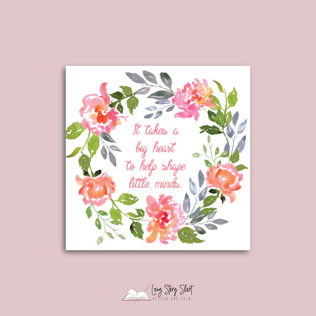 Floral Teacher Square Vinyl Label Pack