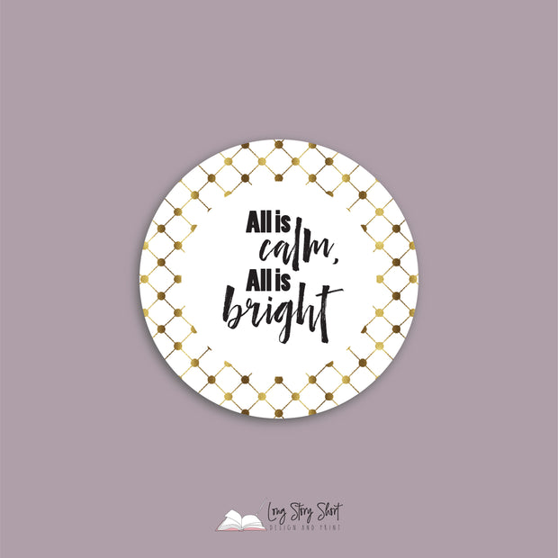 WHITE & GOLD Round Christmas Labels