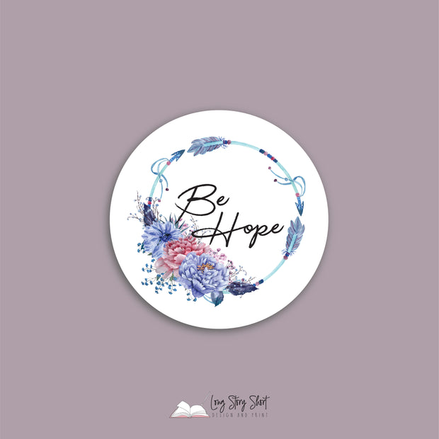 Boho BE Range. White Round Vinyl Label Pack