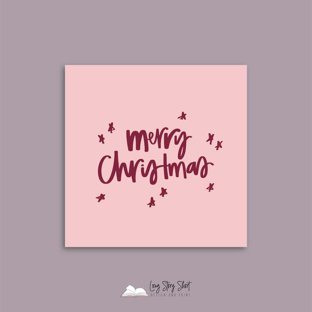 Raspberry Pink Christmas Cheer Christmas Vinyl Label Pack