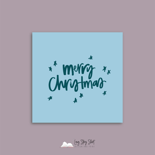 Sky Blue Christmas Cheer Christmas Vinyl Label Pack
