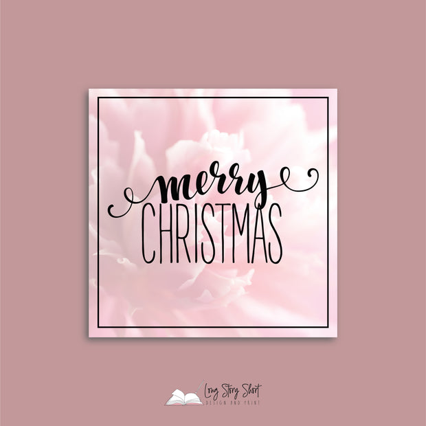 Pink Floral Christmas Vinyl Label Pack