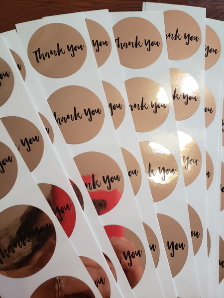 Rose Gold thank you labels