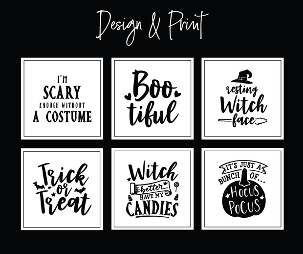 White Halloween Vinyl Square Label Pack