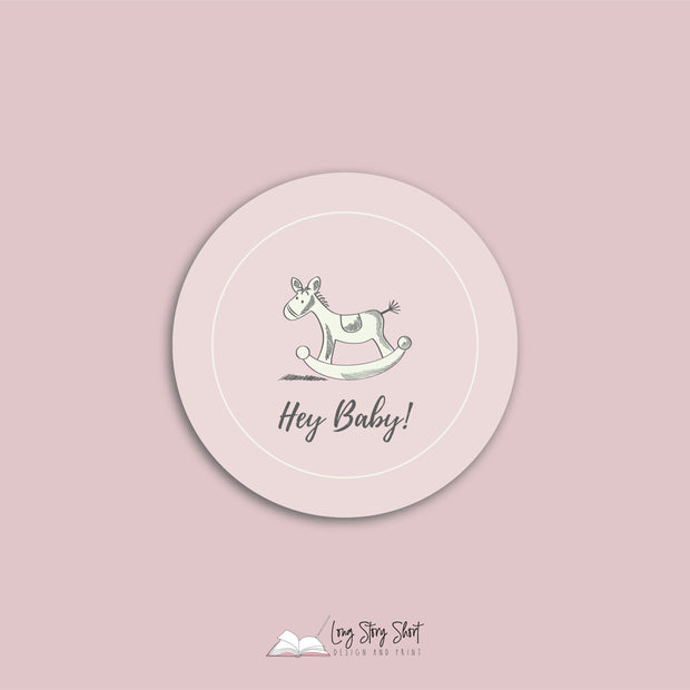 Babyshower Rockinghorse Design Round Vinyl Label Pack