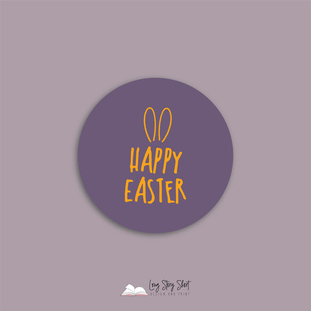 Happy Easter Ears Round Vinyl Label Pack