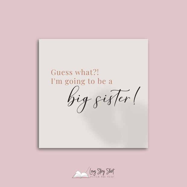 Pregnancy Announcement Sister Vinyl Label Pack