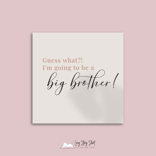 Pregnancy Announcement Brother Vinyl Label Pack