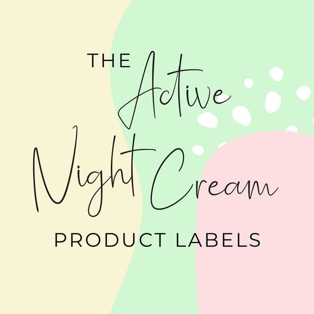 Active Night Cream Product Labels (x 10 labels)