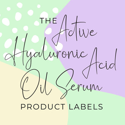 Active Hyaluronic Acid Oil Serum Product Labels (x 10 labels)