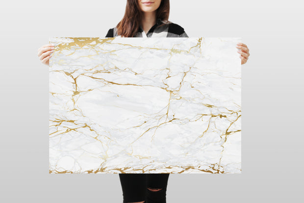 Photography Backdrop - White and Gold Marble