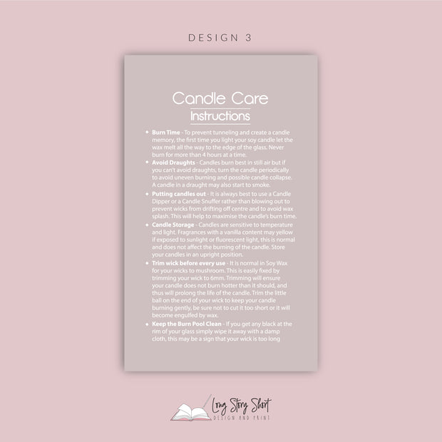 Ready Made Candle Care Card Templates