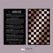 3D Rose Gold Foiled Candle Care Card Black/White