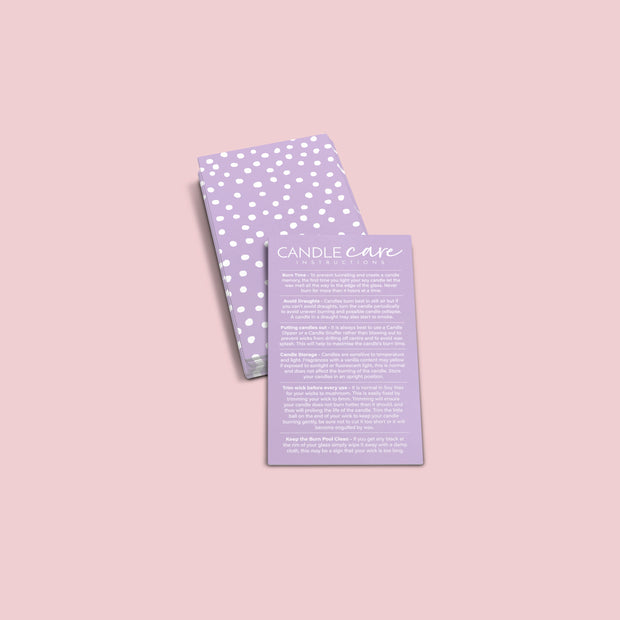Pastel Dotty Candle Care Card Series