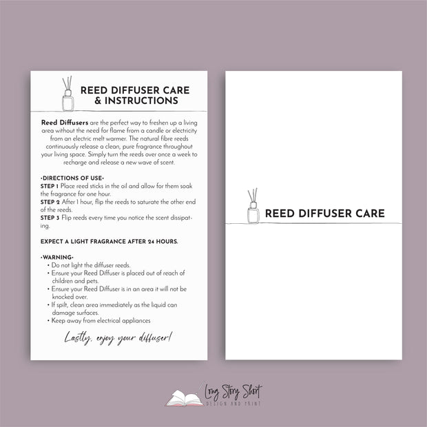 Reed Diffuser Care Card Templates