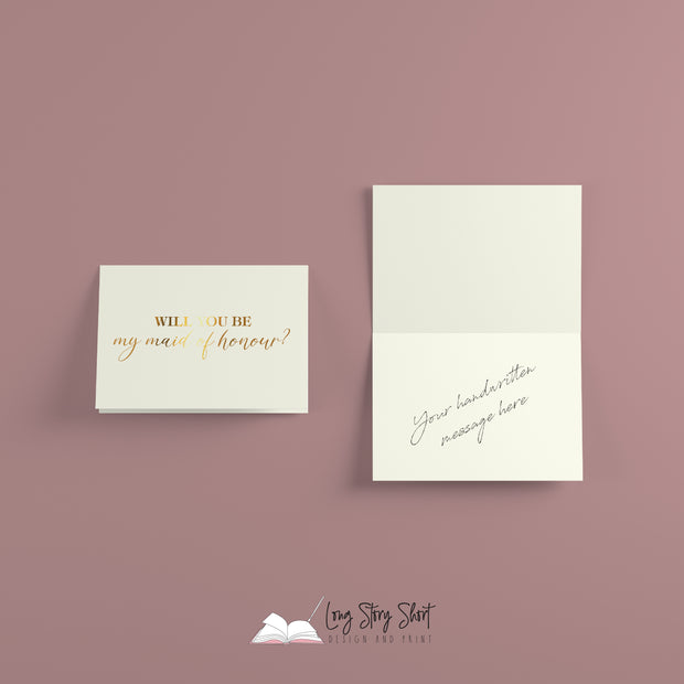 Gold Foiled Greetings Card - Will you be my maid of honour?