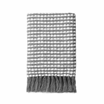 Modern Decorative Throw Blanket with Fringes, Dark Gray and White, 50